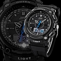 Dual Digital LCD Day Alarm Mens Military Sport Rubber Watch OHSEN Black Waterproof