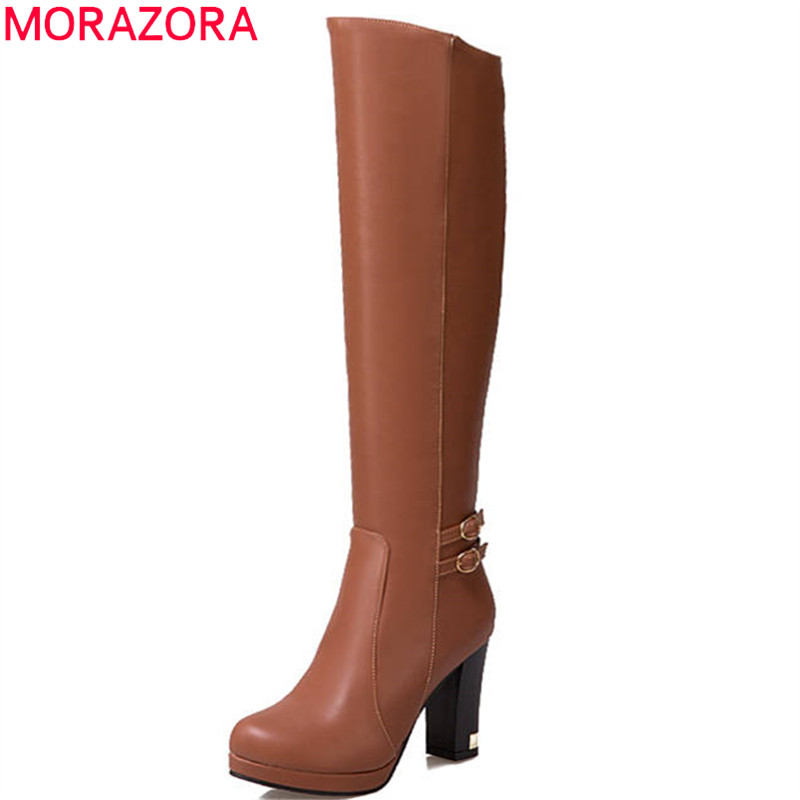 MORAZORA 2018 big size 34-43 round toe autumn winter shoes woman simple zip buckle knee high boots platform high heels boots wetkiss buckle knee high boots thick high heels knight boots platform shoes woman autumn winter boots cool winter shoes woman