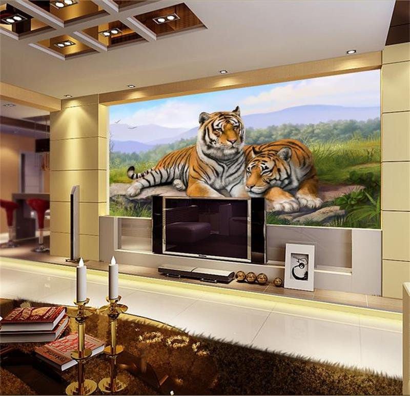 3d wallpaper custom photo wallpaper mural two tiger rocks forest painting living room sofa TV background wall non-woven sticker custom 3d mural wallpaper print modern living room sofa tv bedroom fashion colorful lion photo background decor wall paper rolls