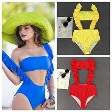 One Pieces Swimsuit 2018 New Bather Swimwear Women Two Pieces Swimsuits Bandeau Ruffle Bikini Swimming Bathing Suit Bodysuit
