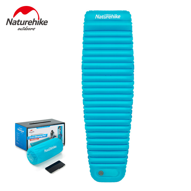 Naturehike Mummy Inflatable Mat Outdoor Camping Single Portable Thickening Tent Moisture Cushion Press Inflation Pad Mattress creeper bl q001 convenient outdoor self inflation dampproof dacron air cushion mat camouflage