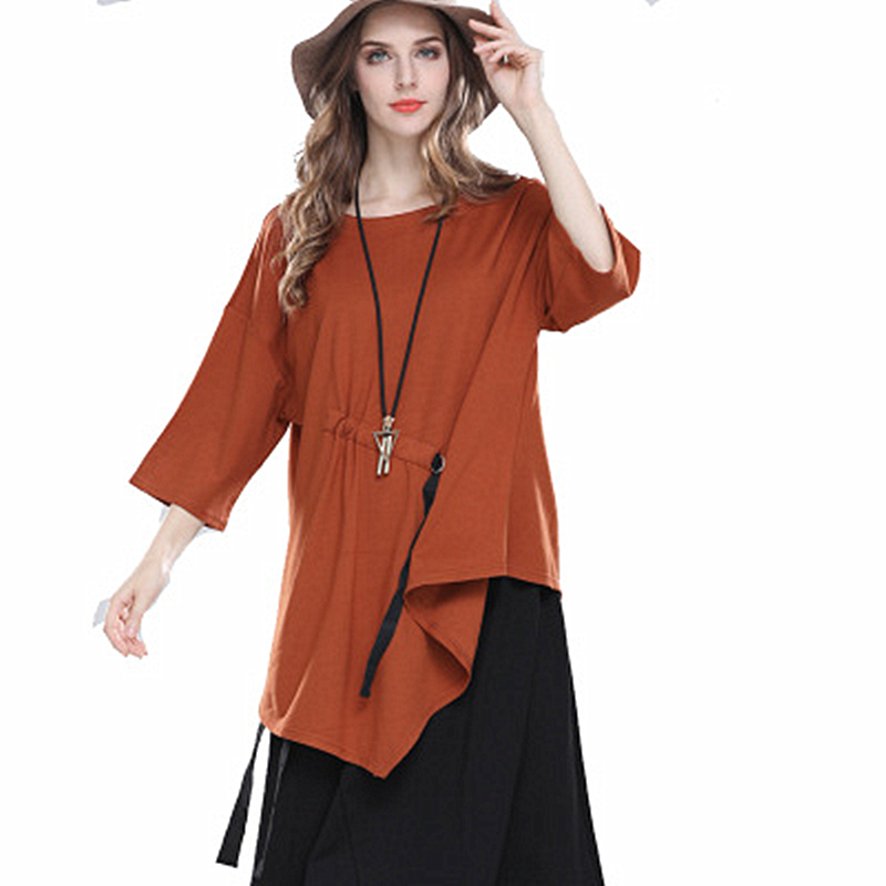 Women 39 s 2019 Spring New large Size Shirt Seven point Sleeve Round Neck Loose Sweater Casual Fashion Trend Solid Color in Blouses amp Shirts from Women 39 s Clothing