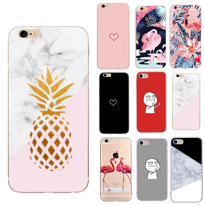 For capinha iphone 7 8 plus love flamingos Glitter patterned soft for fundas iphone 6s 6 s iphone7 8plus 5 5s se case