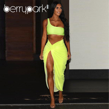 BerryPark Kim Kardashian Sexy Dress Women One Shoulder Draped Asymmetrical Dresses 2019 Summer Fashion High Street Matching Sets