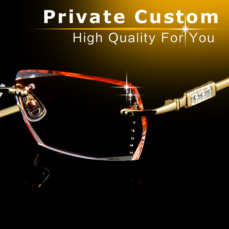 luxury glasses frame gold color optical private custom eyeglasses computer diamante high clearness lens match myopia