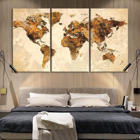 New 3 Pieces/sets Canvas Art 3 panels Rustic World Map HD Canvas
