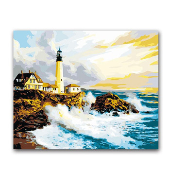 seascape beacon waves oil painting package diy digital oil painting by the number with kits adult practise paint room