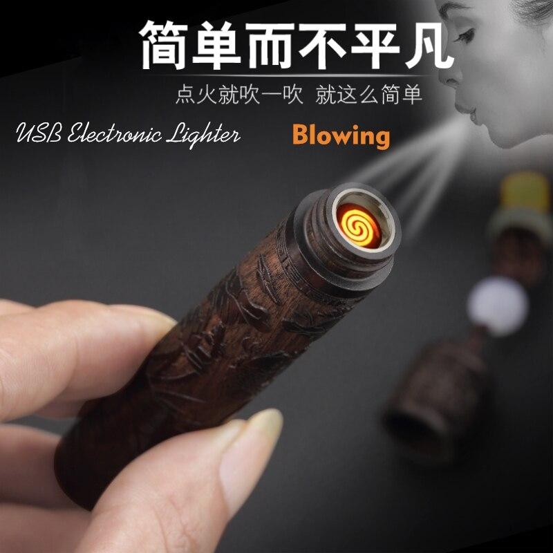 Vintage Holzschnitzerei Elektronische Blasen Zigarette Leichter Mini USB Lade Plasma Arc Leichter Mundstück Gadgets Wie Männer Geschenke
