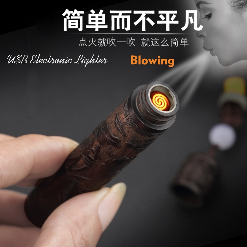Vintage Woodcarving Electronic Blowing Cigarette Lighter Mini USB Charging Plasma Arc Lighter Mouthpiece Gadgets As Men Gifts