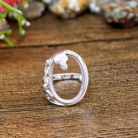 14x20mm Oval Cabochon Antique Vintage Sterling Silver 925 Women Ring Semi Mount Fine Jewelry Setting For