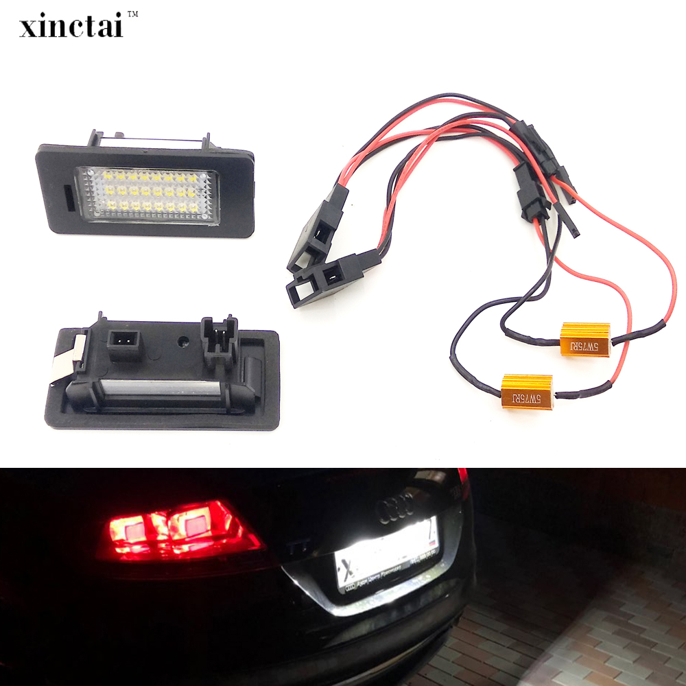 2PCS Canbus Error Free LED License Plate Light for <font><b>Audi</b></font> A1 A3 / A4 S4 B8/ A5 S5 8T / <font><b>A6</b></font> C7/4G / A7 4G / Q3 8U / Q5 8R / TT 8J image