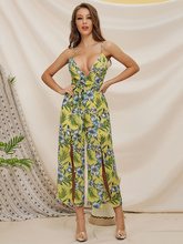 Bohemian beach wearing women jumpsuits yellow floral monos largos mujer sling strap chiffon V neck jumpsuits romper girl 81902 женский комбинезон brand new 2015 monos largos de mujer 140409