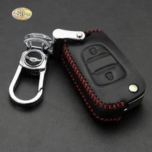 Genuine Leather car key cover case for Hyundai Creta IX25 Tucson IX35 Elantra key ring remote keychain