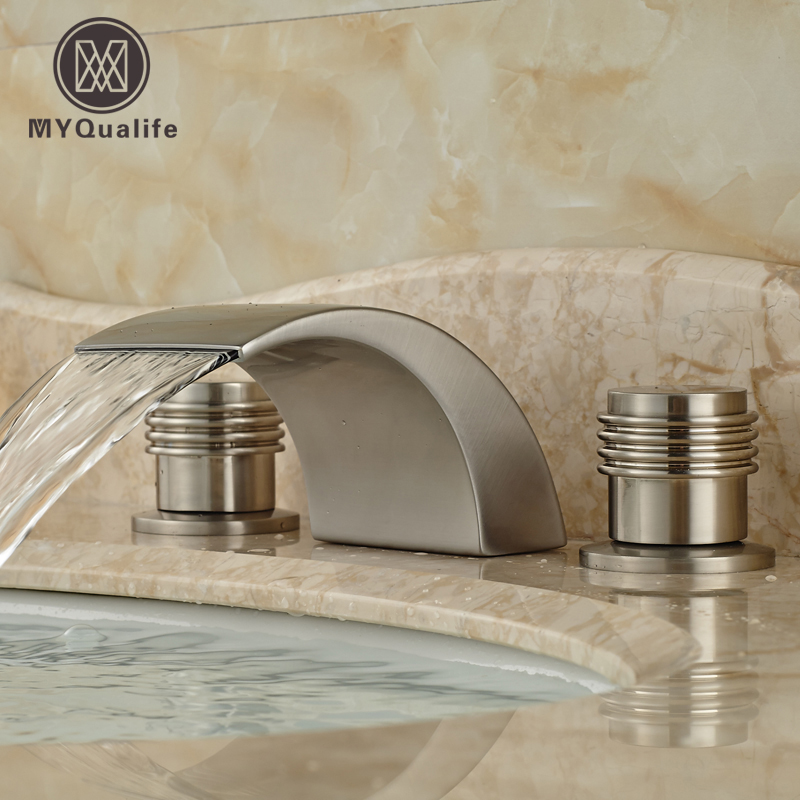 Brushed Nickel Widespread Dual Handle Bathroom Waterfall Basin Sink Faucet Deck Mount Hot Cold Water Tap led color changing brushed nickle basin faucet hot and cold water faucet waterfall spout dual handle tap