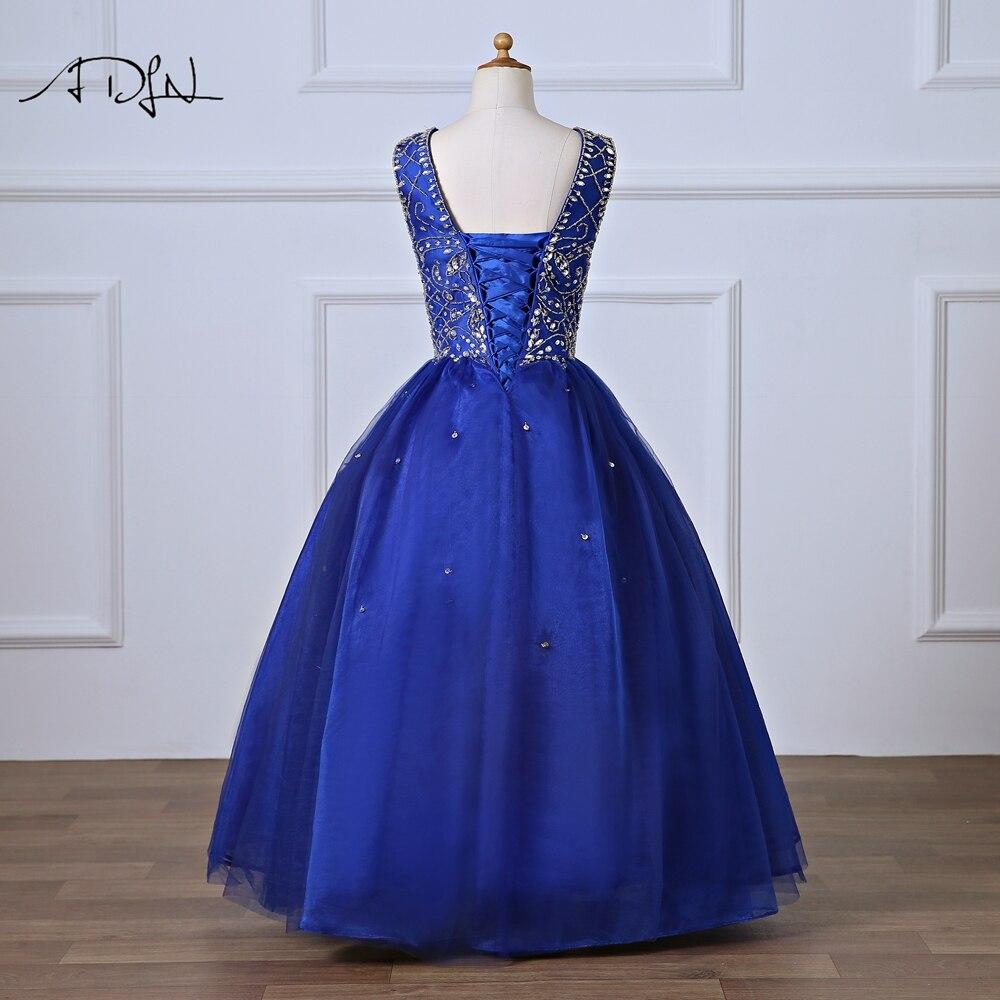 ADLN королевский синий вечернее платье для Pageant V-образным вырезом длиной до пола, сильно бисером платья девушки цветка для свадьбы платья vestido Comunion