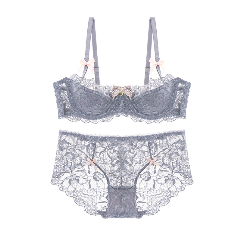 Fashion Lace Sexy Bra Sets Thin Cotton Women Underwear Set Plus Size C D Cup Gray Lingerie Set Embroidery Comfortable Brassiere