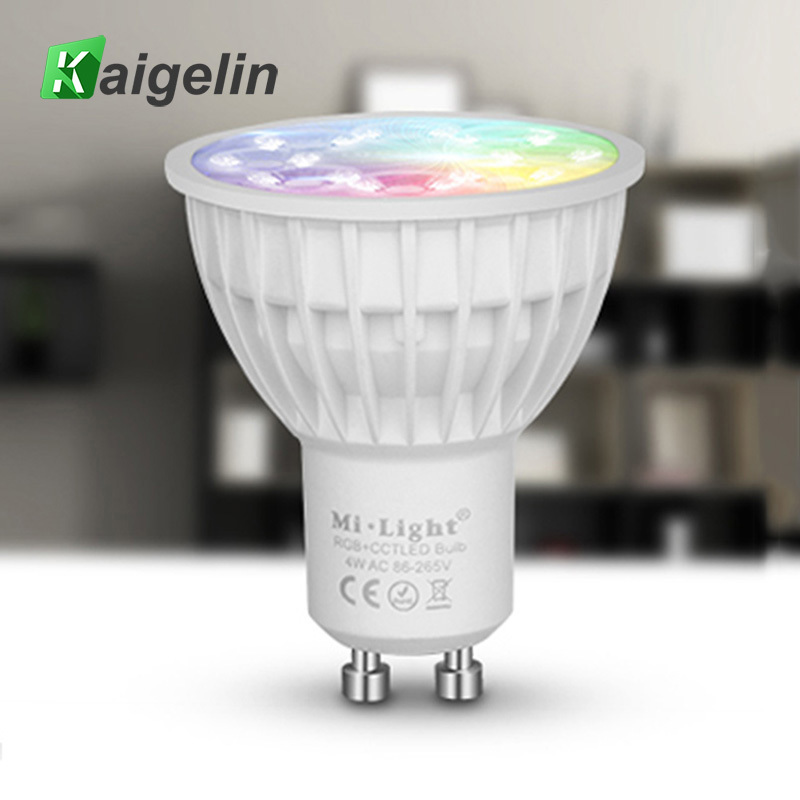 Milight GU10 LED Bulb 4W RGBW Lamps Wireless Wifi Controller Box 4-Zone 2.4G RF Remote Controller Dimmable LED Spotlight FUT 103 mi light wifi led controller 4x2 4g dc12v 24v led controller rgbw 4 zone rf remote control for 5050 3528 led strip light
