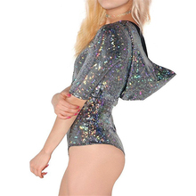 Women Half Sleeve Hooded Holographic Laser Bodysuit 2019 Sexy Cut Out Hologram D