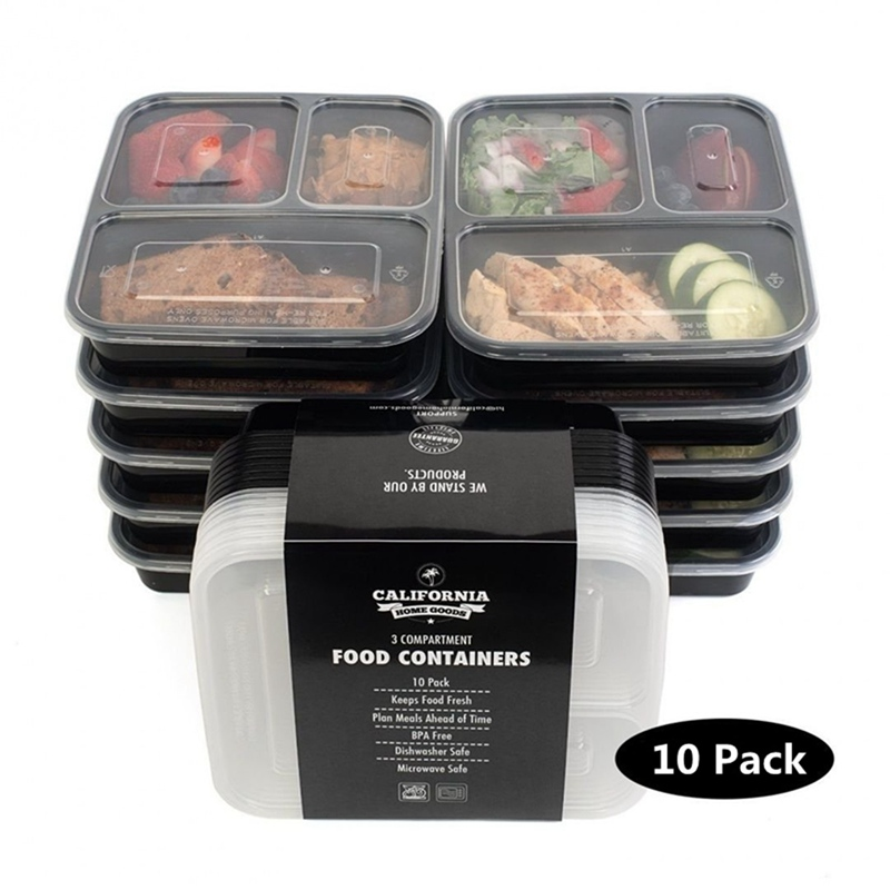10pcs 1000Ml Black Disposable Food Container Snack Packing Boxes Microwaveable PP Lunch Bento Box