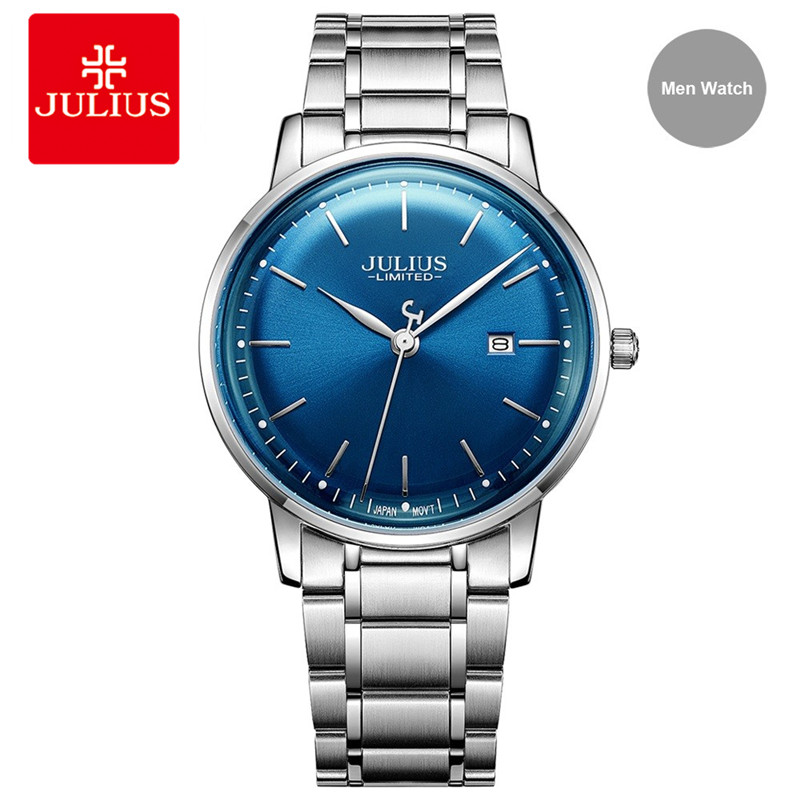 Julius Brand Stainless Steel Watch Ultra Thin 8mm Men 30M Waterproof Wristwatch Auto Date Limited Edition Whatch Montre JAL-040 2pm gentelmen s game monograph limited release date 2016 11 30