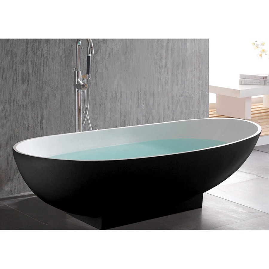 1800 X 820 X 540 MM PAZZO STONE SOLID SURFACE FREESTANDING BATHTUB EXTERNAL BLACK INSIDE WHITE OVAL TUB 1005