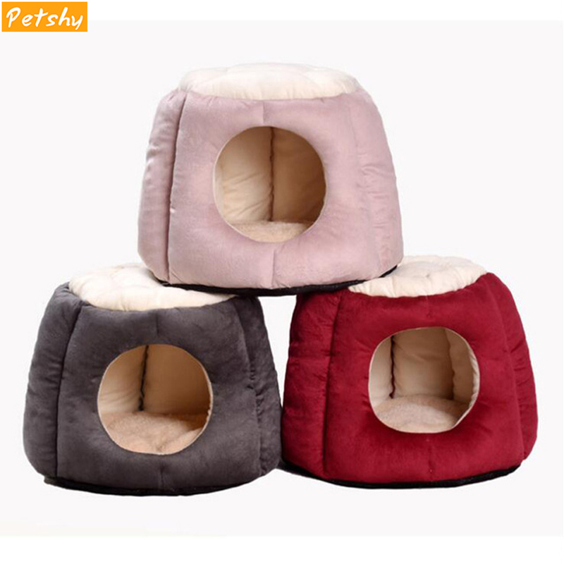 Petshy Foldable Pet Cat House Kennels Nest Winter Warm Kitten Puppy Sleeping Bed Cushion Tent Small Medium Dogs Pets Home Cave