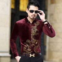 Mens Gold Velvet Shirts 2019 New Fashion Spring Autumn Big Size 6XL Long Sleeve Dress Shirt Men Casual Brand Tops