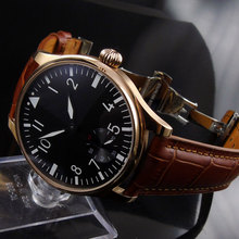 44mm parnis Black Dial Rose Golden Plated Deployment Leather strap 17 jewel 6498 Hand Wind Mechanical men's Watch цены