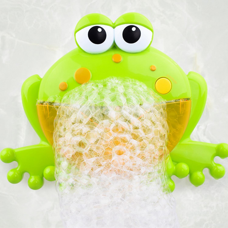 Kids Cute Funny Automatic Cartoon Frog Bubble Machine Music Electric Soap Bubble Maker Blower Outdoor Bath Bathtub Toy