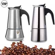 YRP Mocha Coffee Maker Moka Pot Stainless Steel Filter Espresso Cafetiere Italian Coffee Maker Percolator Tool 100/200/300/450ML цена