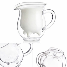 Double Wall Milk Glass Cup Cow Udder Shape Tea Cup Juice Water Coffee Mug Handle Glass Clear Wine Beer Jar Kitchen Drinkware creative glass cow cups double wall handgrip milk cup mug insulation transparent drinkware udder style creamer pitcher jug