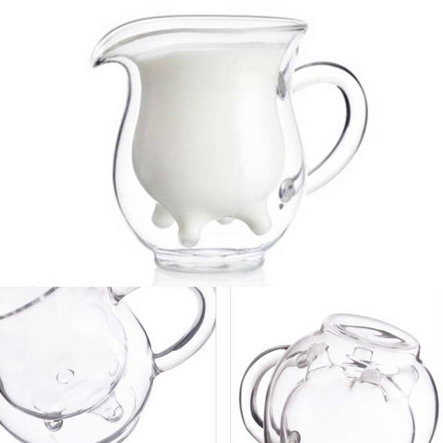Double Wall Milk Glass Cup Cow Udder Shape Tea Cup Juice Water Coffee Mug Handle Glass Clear Wine Beer Jar Kitchen Drinkware