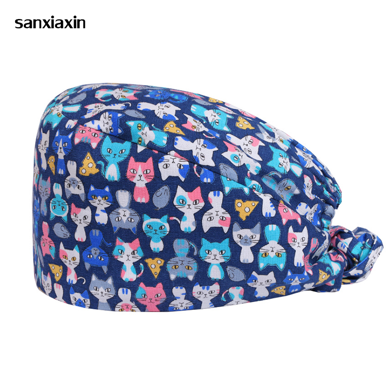 Scrub Hats Surgical Caps Sewing Pattern 100% Cotton Elasticized Section Work Hat Nurse Cap Adjustable Cats Pixie Style Tieback