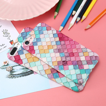 Colorful Grid Hard Phone Case For iPhone 7 7 Plus 6 6S Plus Fashion Mermaid 3D Fish Scale Back Cover For Apple Ultra Thin Capa