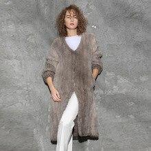 Fur Story 16166 женское вязаное длинное пальто из меха норки пальто из натурального меха женский свободный размер Повседневный длинный кардиган из натурального меха