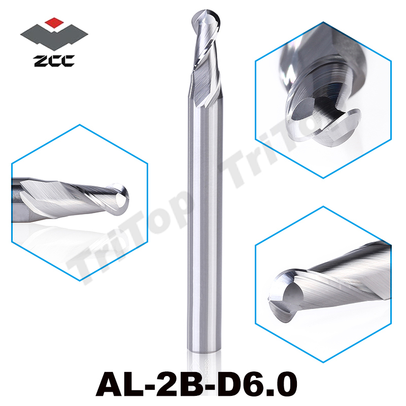 TOP quality ZCC.CT AL-2B-R6.0 solid tungsten carbide 2 flute ball nose end mill 12mm R6.0 cnc milling cutter for aluminum alloy
