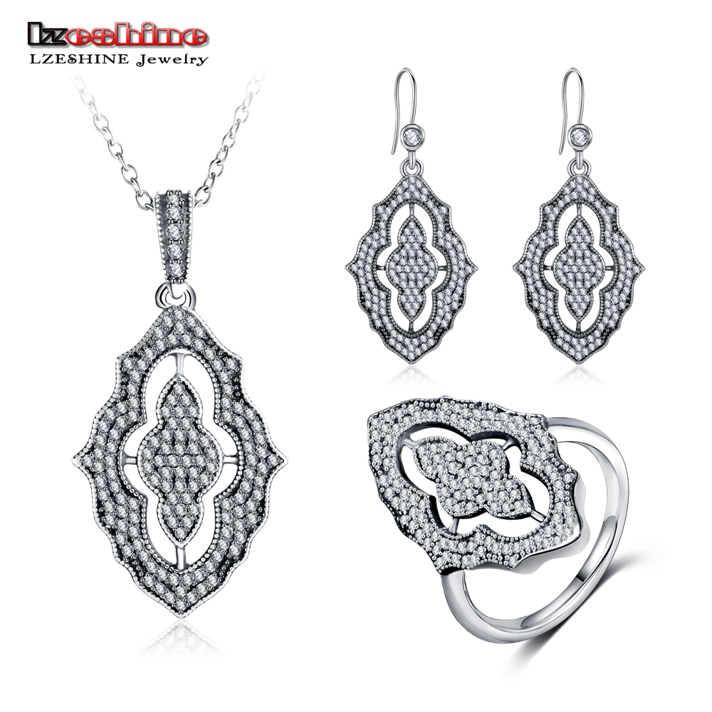 LZESHINE 100% 925 bijoux en argent Sterling ensemble avec pendentif collier/bagues/boucles d'oreilles CZ pierre bijoux en argent Sterling PSST0004-B
