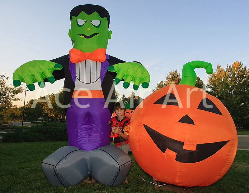 halloween celebration party decoration green inflatable frankenstein with pumpkinchina mainland