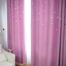 Laser Cutting Stars Navy Blackout Curtain Thermal Insulated Out Star Window Treatment for Kids and Nursery Rooms Decoration(China)