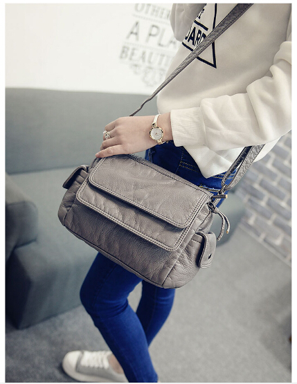 Sac femelle simple style doux waterwashed en cuir de mode petit sac vintage messenger sac à bandoulière wangbu58