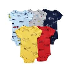 Боди с короткими рукавами и круглым вырезом и принтом автомобиля для детей 6 24 месяцев, хлопковая одежда для новорожденных мальчиков и девочек, костюм для новорожденных 2020, 5 шт./компл.