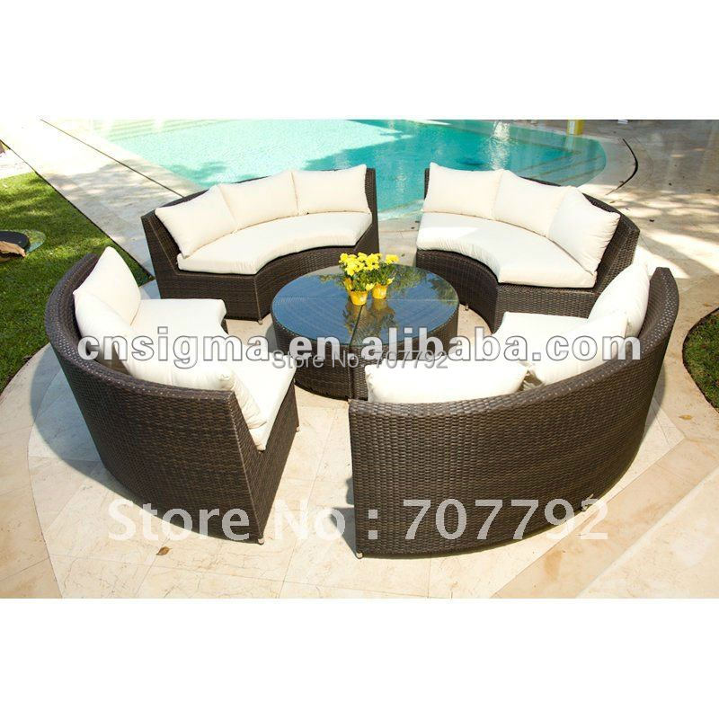 Outdoor Circa All Weather Wicker Round 4 Bench Table Set