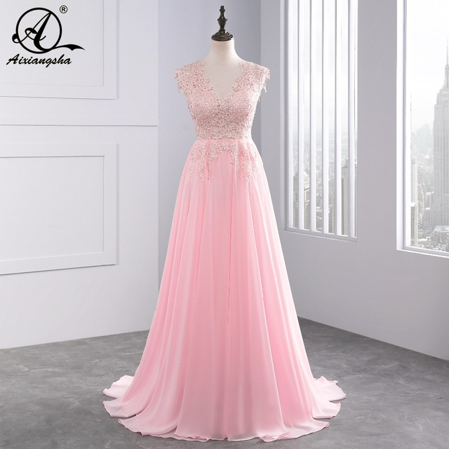068b0bc74fb75 White Ivory Pink Wedding Dresses 2018 Long New Charmming V-neck Floor Length  Chiffon With Top Lace A-Line