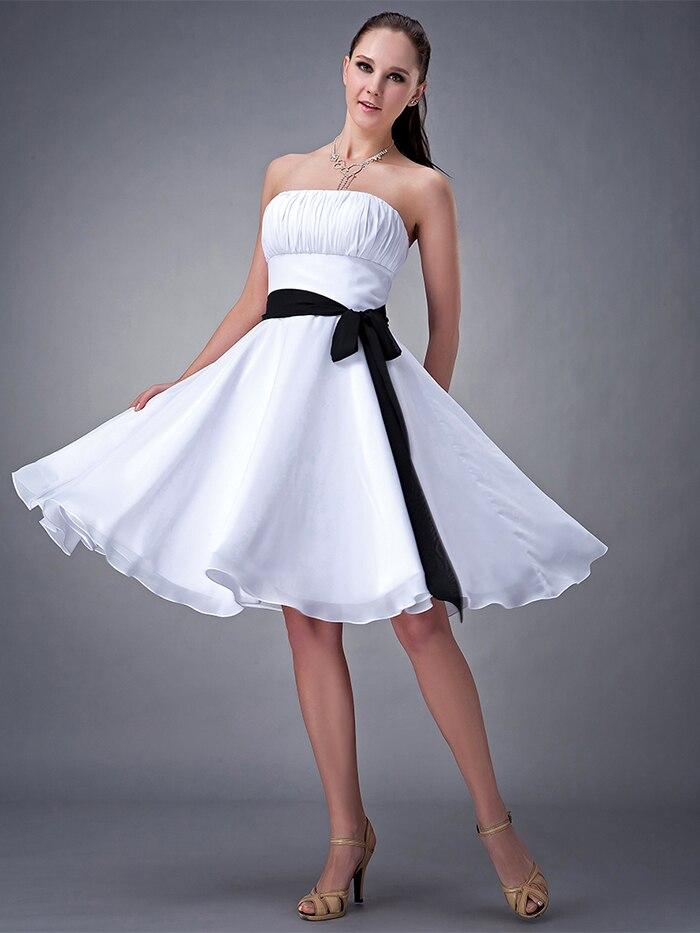 White And Black Short Beach Wedding Bridesmaids Dresses