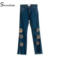 Smmoloa Plus Size Denim Trousers 2017 Women Spring Autumn Split Flare Jeans With Ball L Are