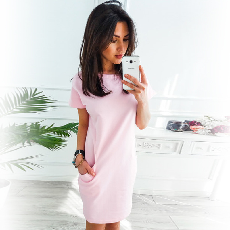 2018-summer-women-pockets-short-sleeve-casual-dress-o-neck-solid-loose-straight-dress-fashion-elegant-party-dress-vestidos