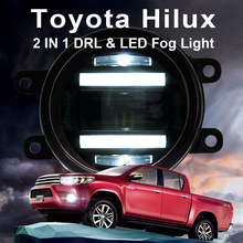 цена на For Toyota Hilux fog lights+LED DRL+turn signal lights Car Styling LED Daytime Running Lights LED fog lamps 2013-2015