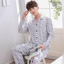 c1af3d1929f1d68 2019 Новинка весны мягкий хлопок пижамный комплект пижамы для мужчин 2 шт.  с длинным рукавом мужской Ночная Одежда Домашняя Homm.