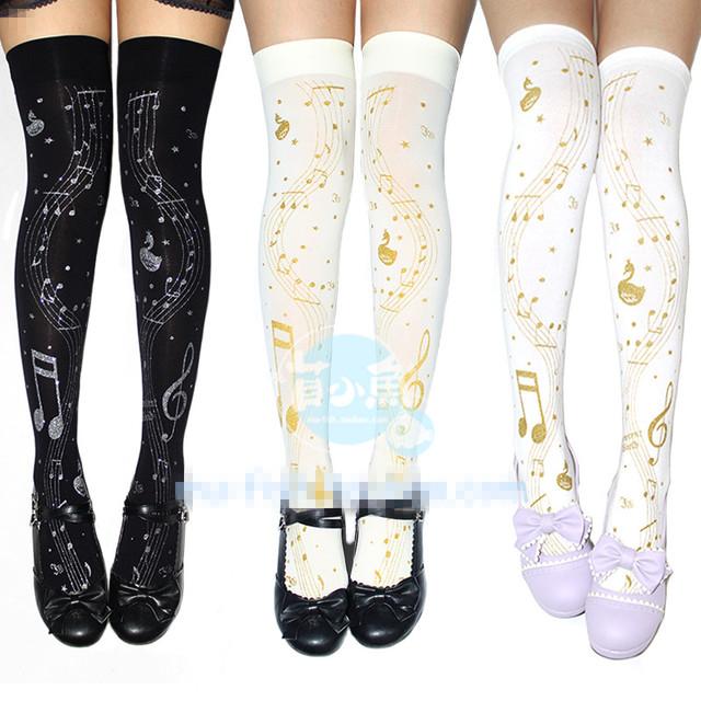 Princesa doce lolita meias meias de impressão Hot stamping de notas de ouro impresso na altura do joelho meias GXW11