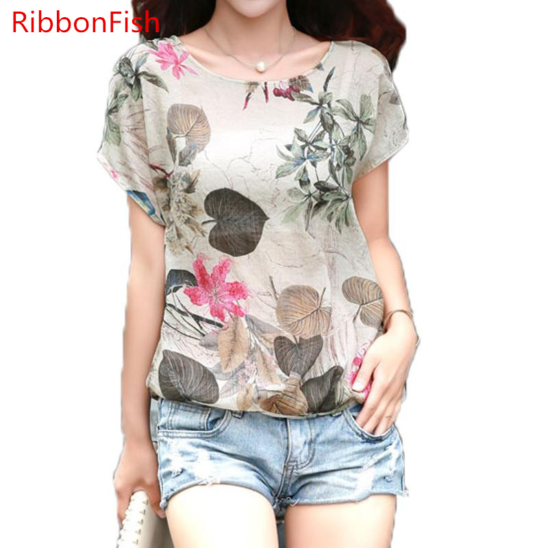Women Spring Summer Style Chiffon   Blouses     Shirts   Lady Short Sleeve Casual Ruffles Flower Printed Loose O-Neck blusas DF1272